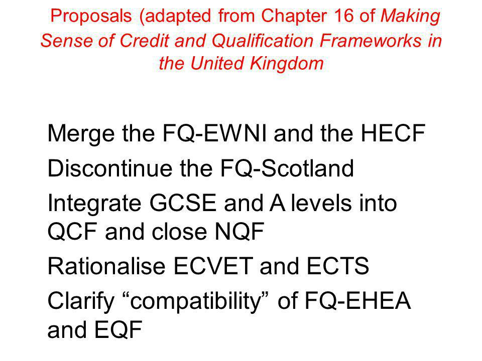 Proposals (adapted from Chapter 16 of Making Sense of Credit and Qualification Frameworks in the United Kingdom