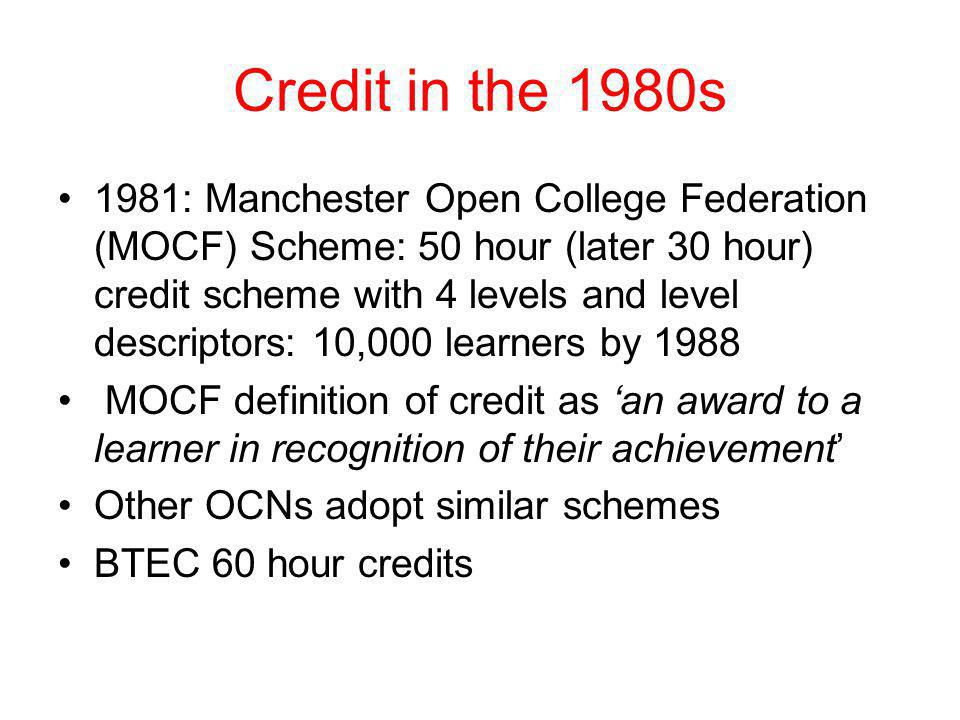 Credit in the 1980s