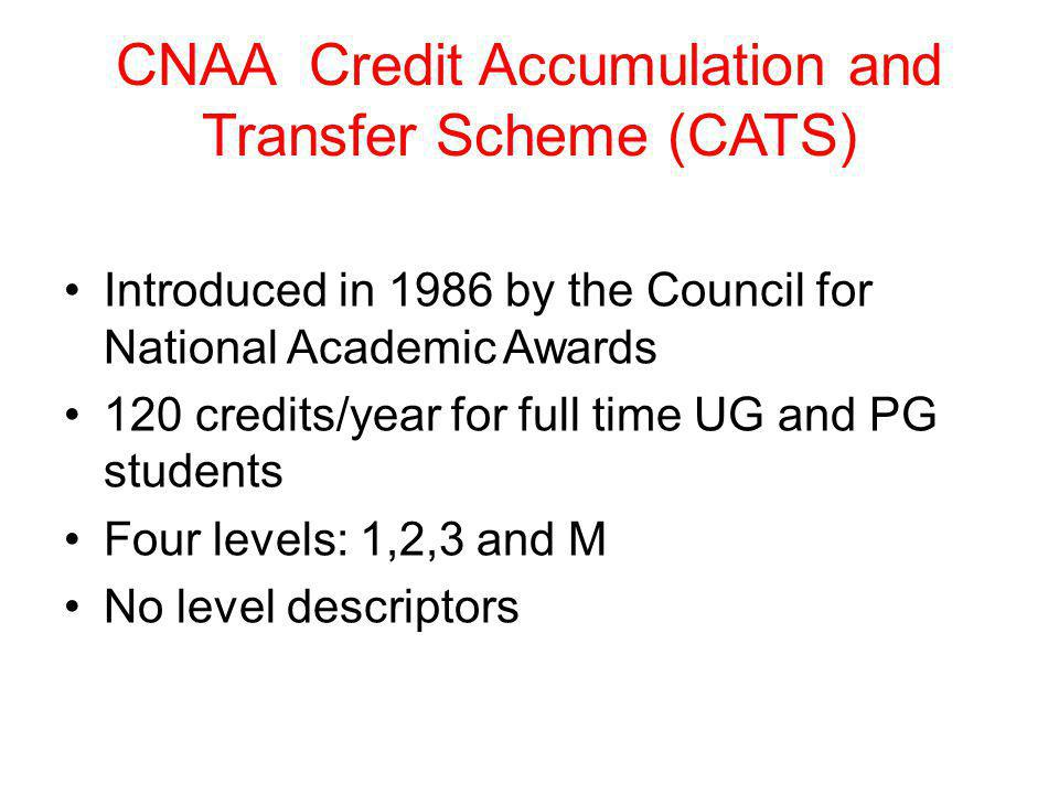 CNAA Credit Accumulation and Transfer Scheme (CATS)