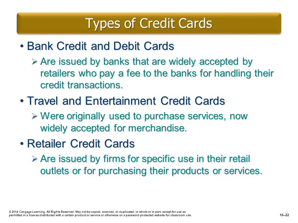 Types of Credit Cards Bank Credit and Debit Cards