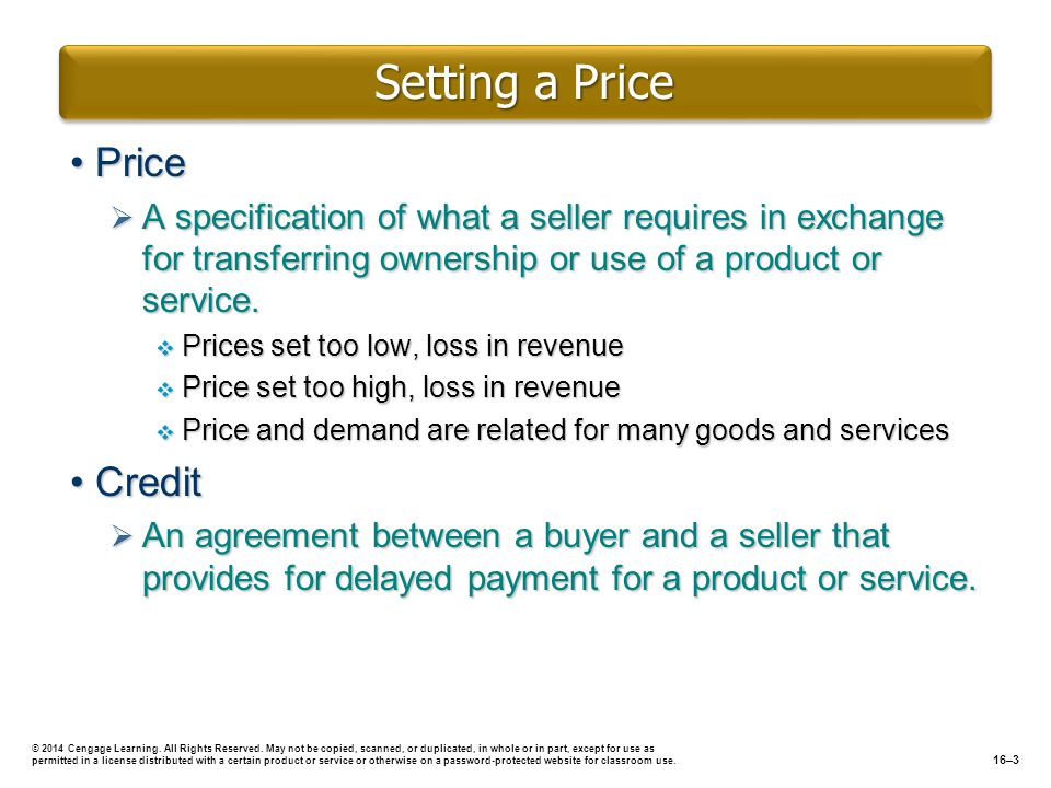 Setting a Price Price Credit