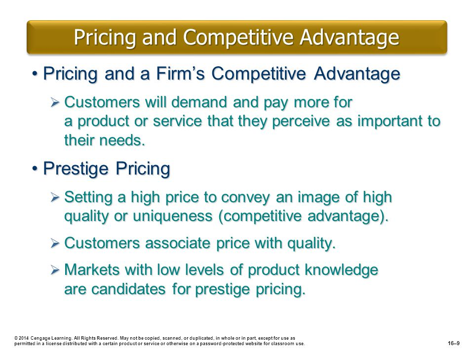 Pricing and Competitive Advantage
