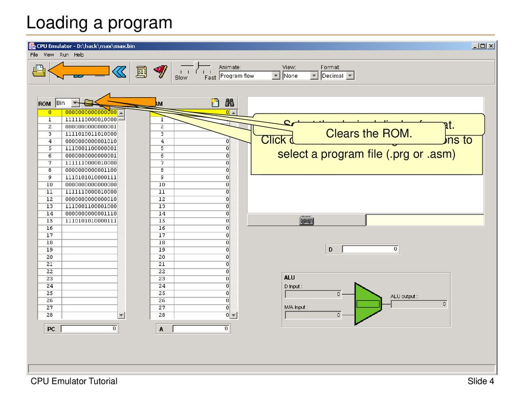 CPU Emulator Tutorial This program is part of the software