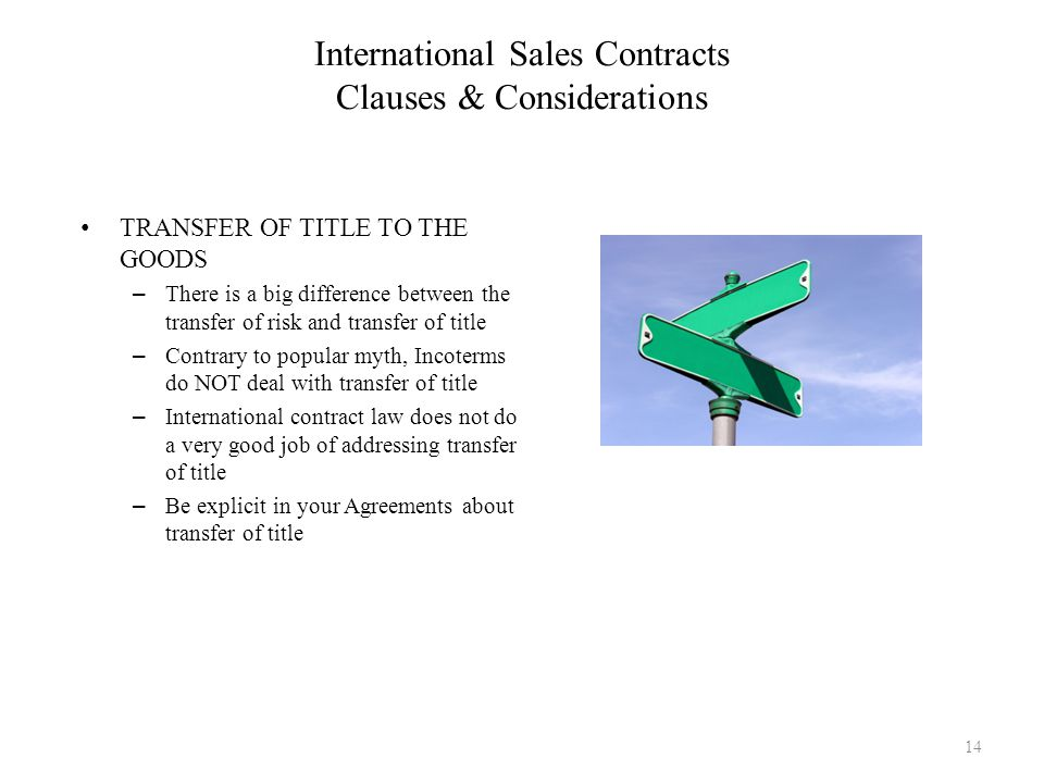 International Sales Contracts Clauses & Considerations