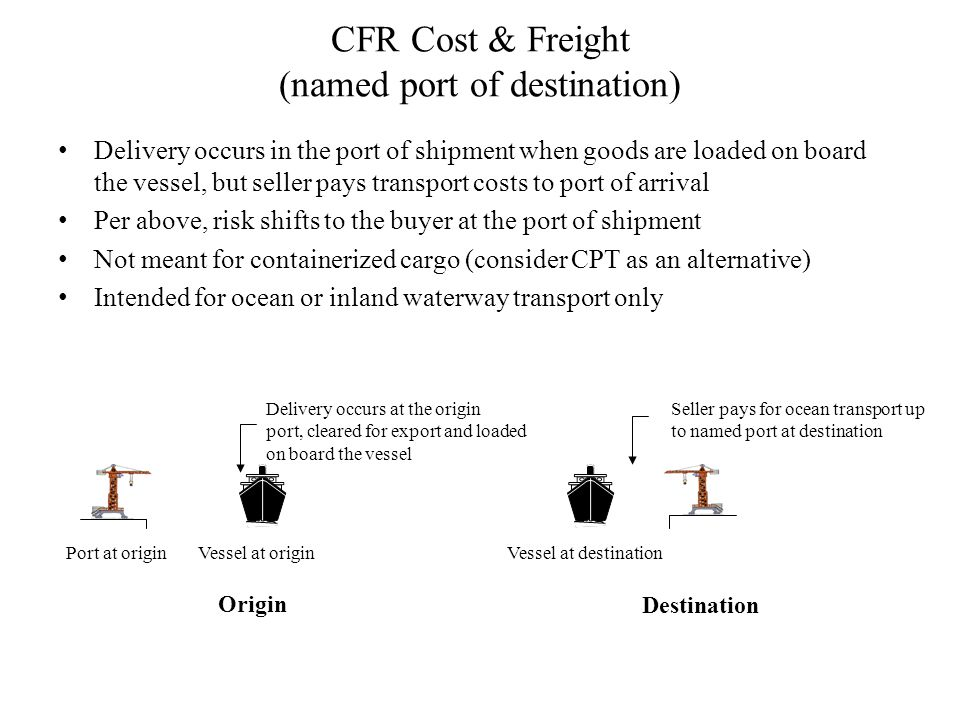 CFR Cost & Freight (named port of destination)