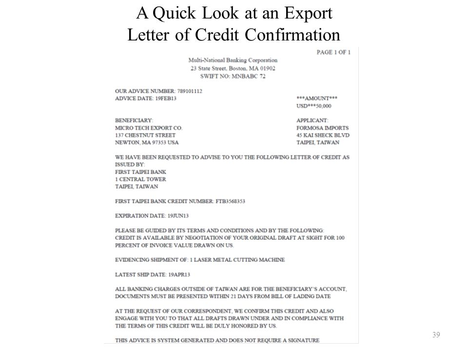 A Quick Look at an Export Letter of Credit Confirmation