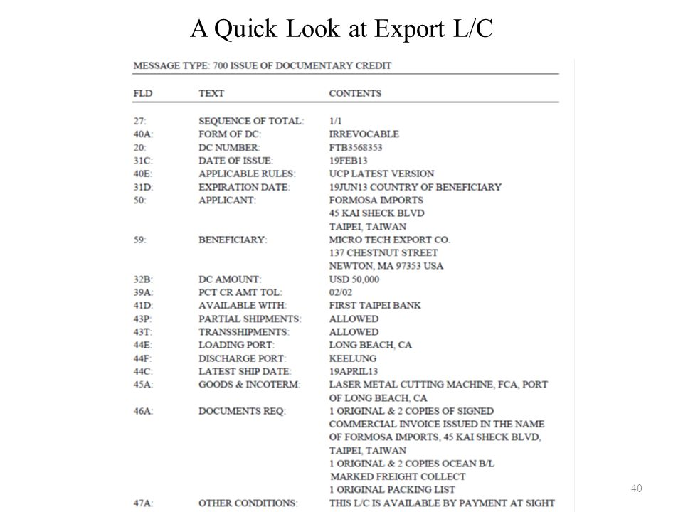 A Quick Look at Export L/C