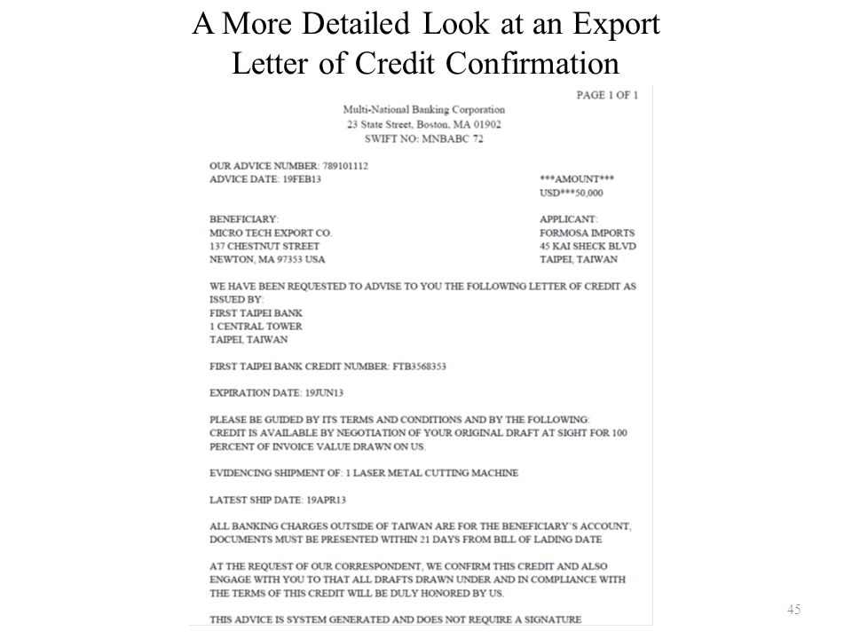 A More Detailed Look at an Export Letter of Credit Confirmation