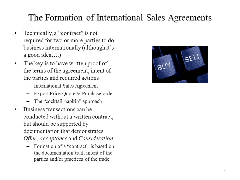 The Formation of International Sales Agreements