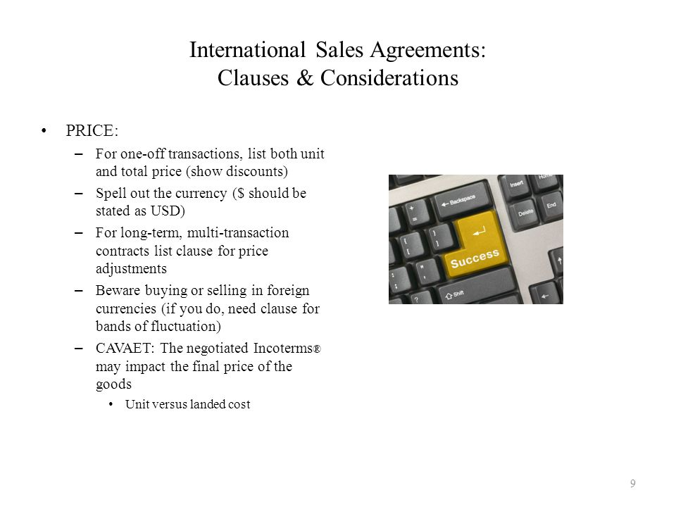 International Sales Agreements: Clauses & Considerations
