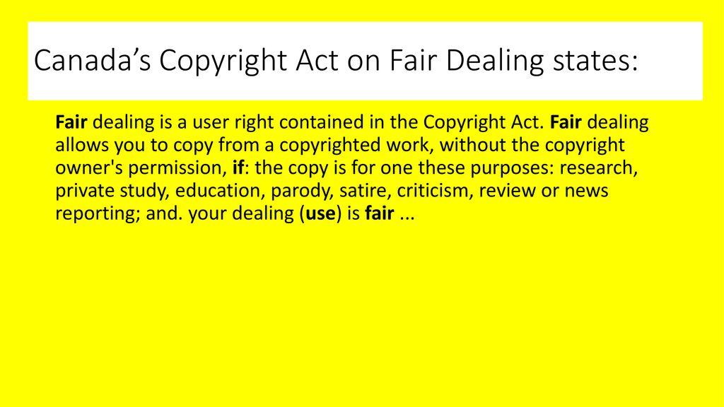 Fair Dealing Copyright Canada Ppt Download