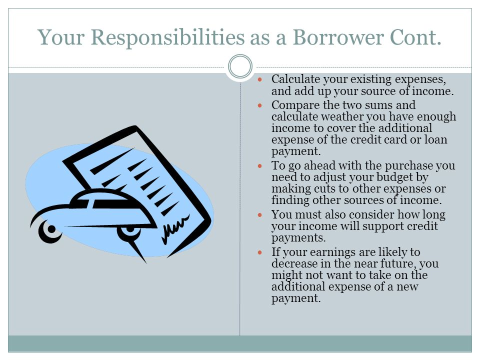 Your Responsibilities as a Borrower Cont.