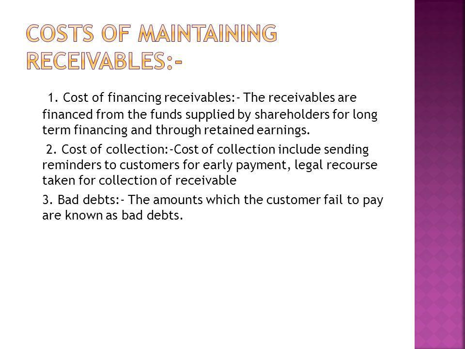 Costs of maintaining receivables:-