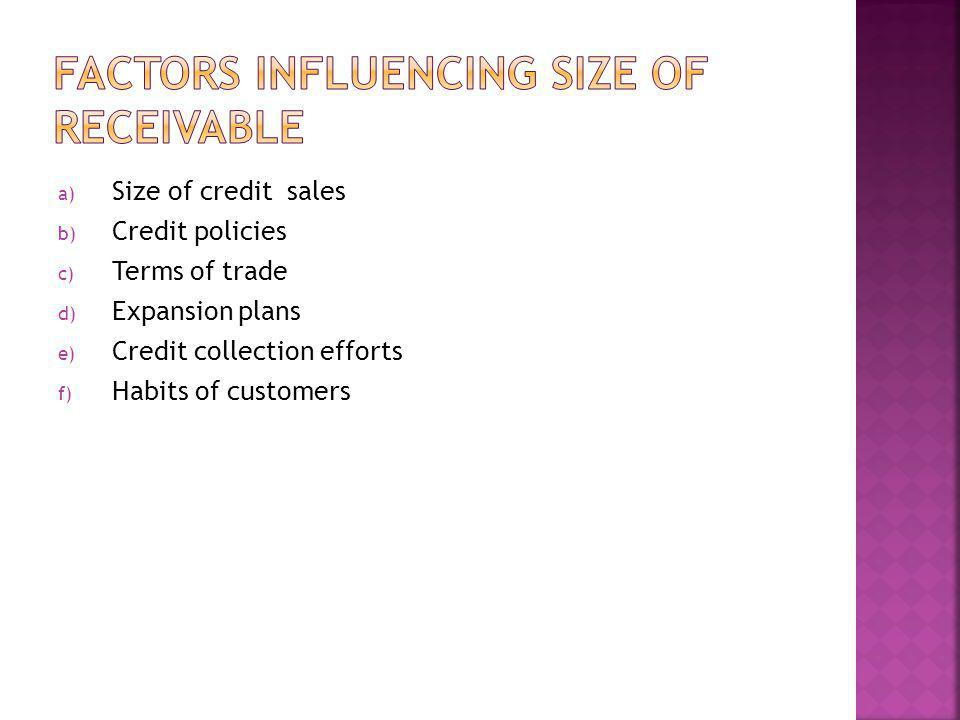 Factors influencing size of receivable