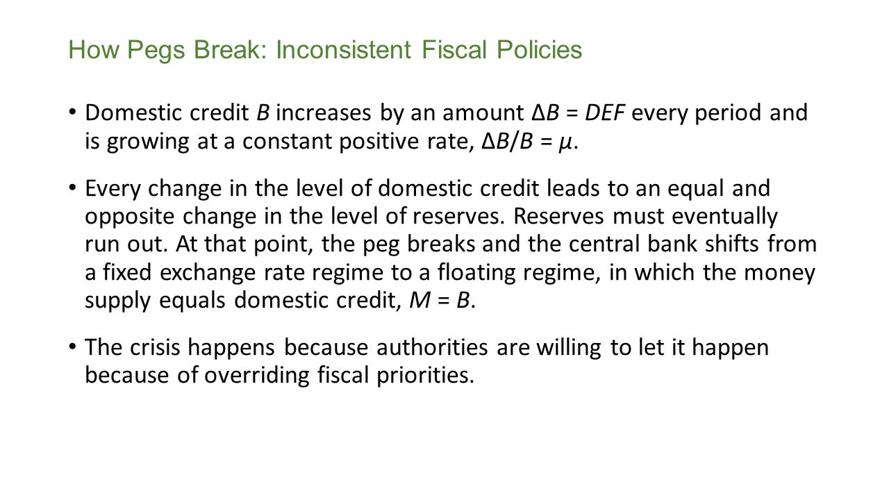 How Pegs Break: Inconsistent Fiscal Policies