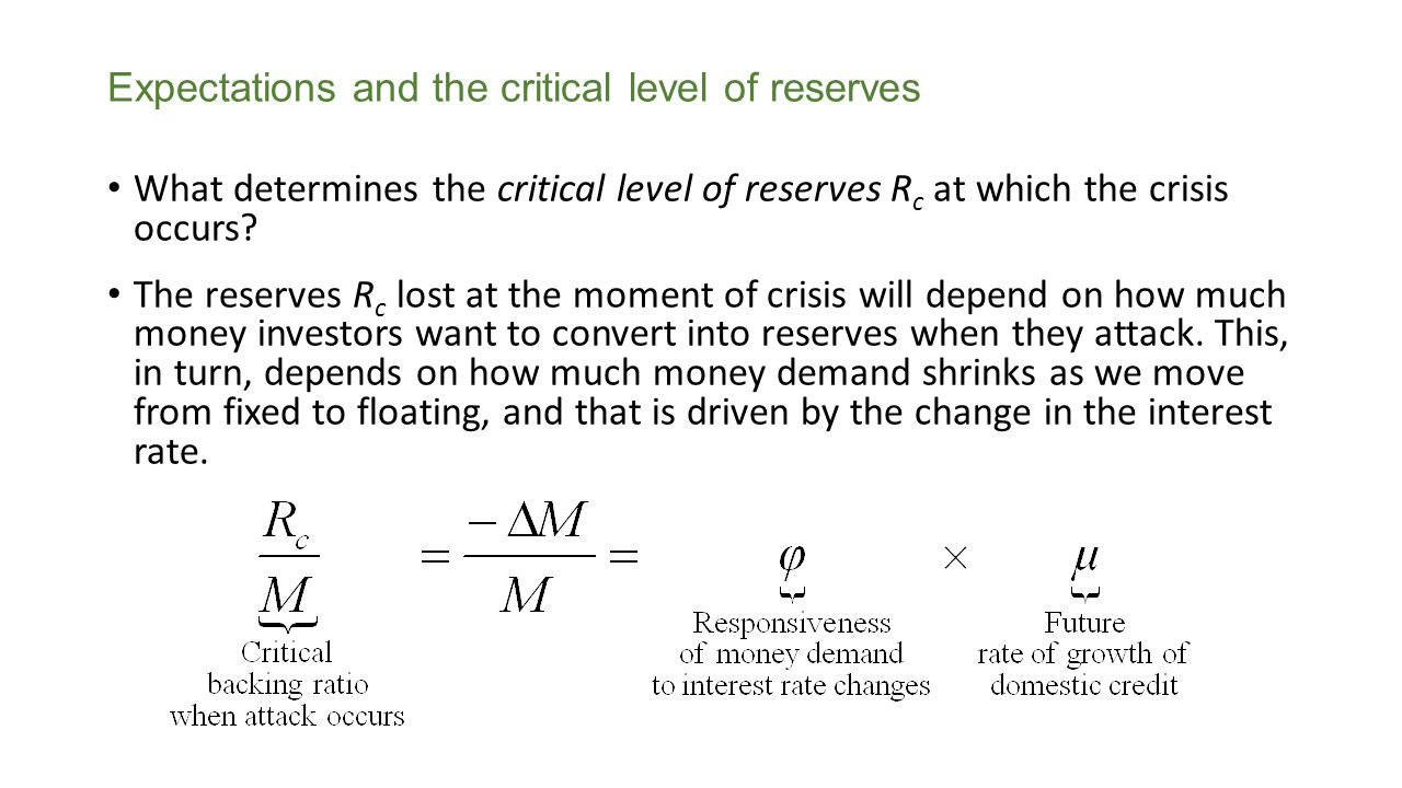 Expectations and the critical level of reserves