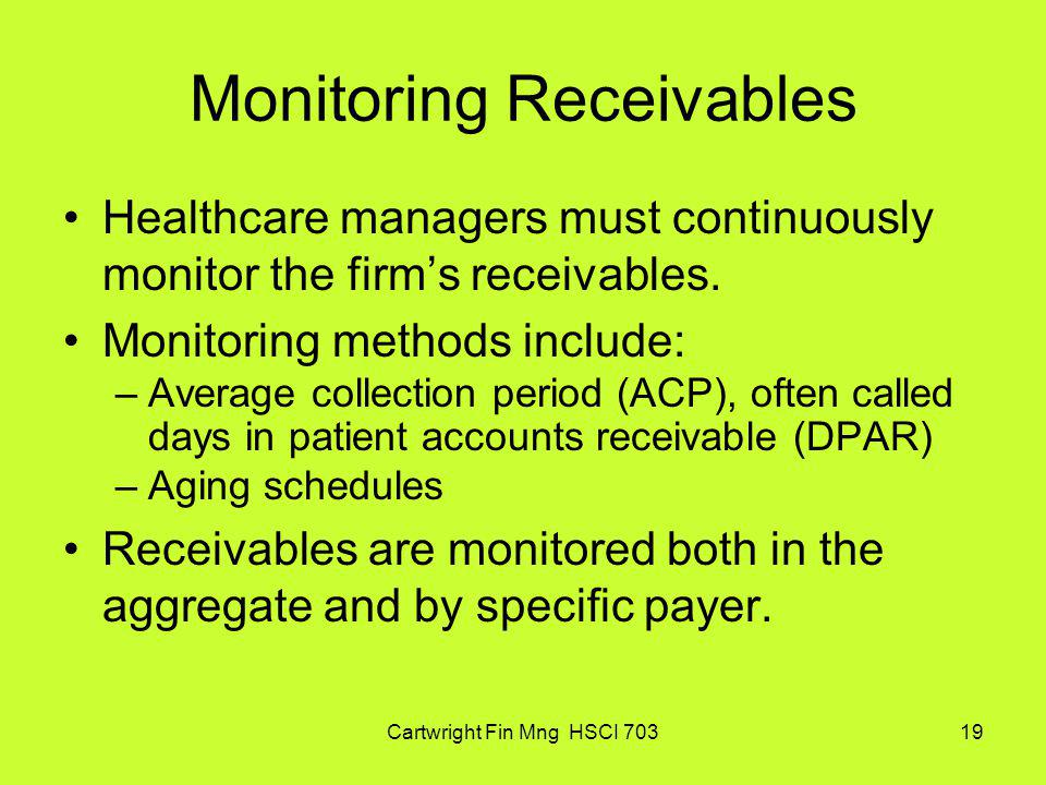 Monitoring Receivables