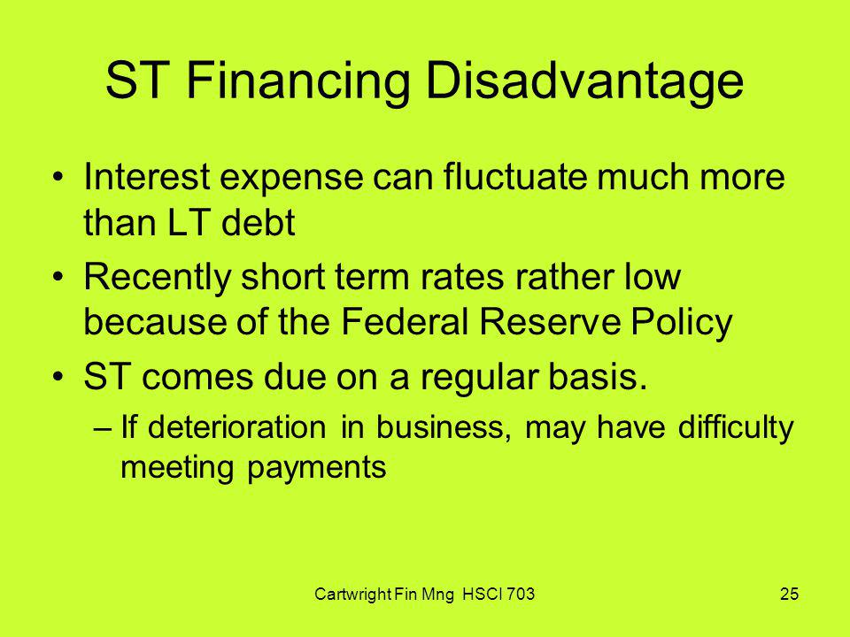 ST Financing Disadvantage