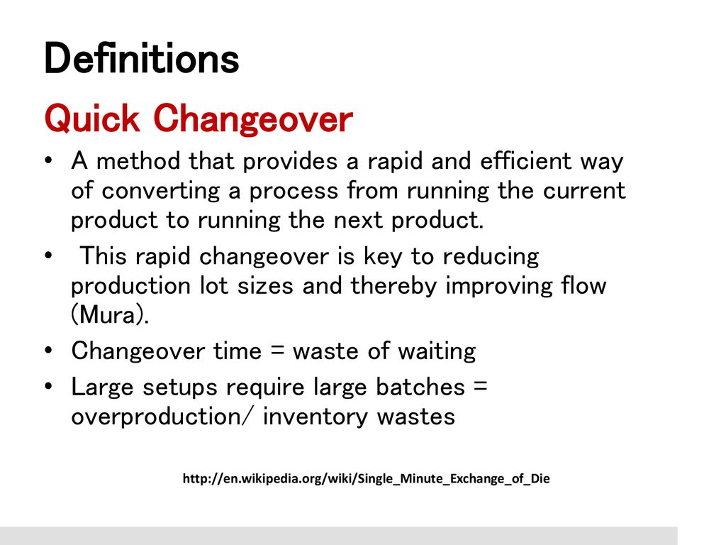 Quick Changeovers Definitions Analysis and Methods GEOP ppt