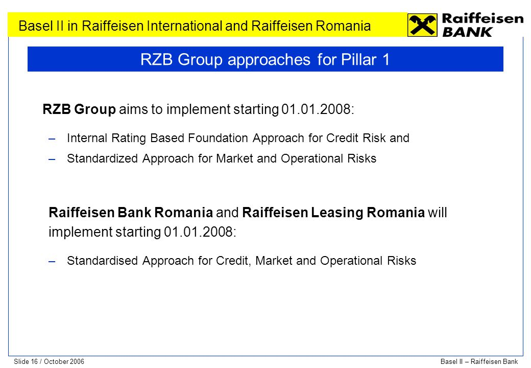 RZB Group approaches for Pillar 1