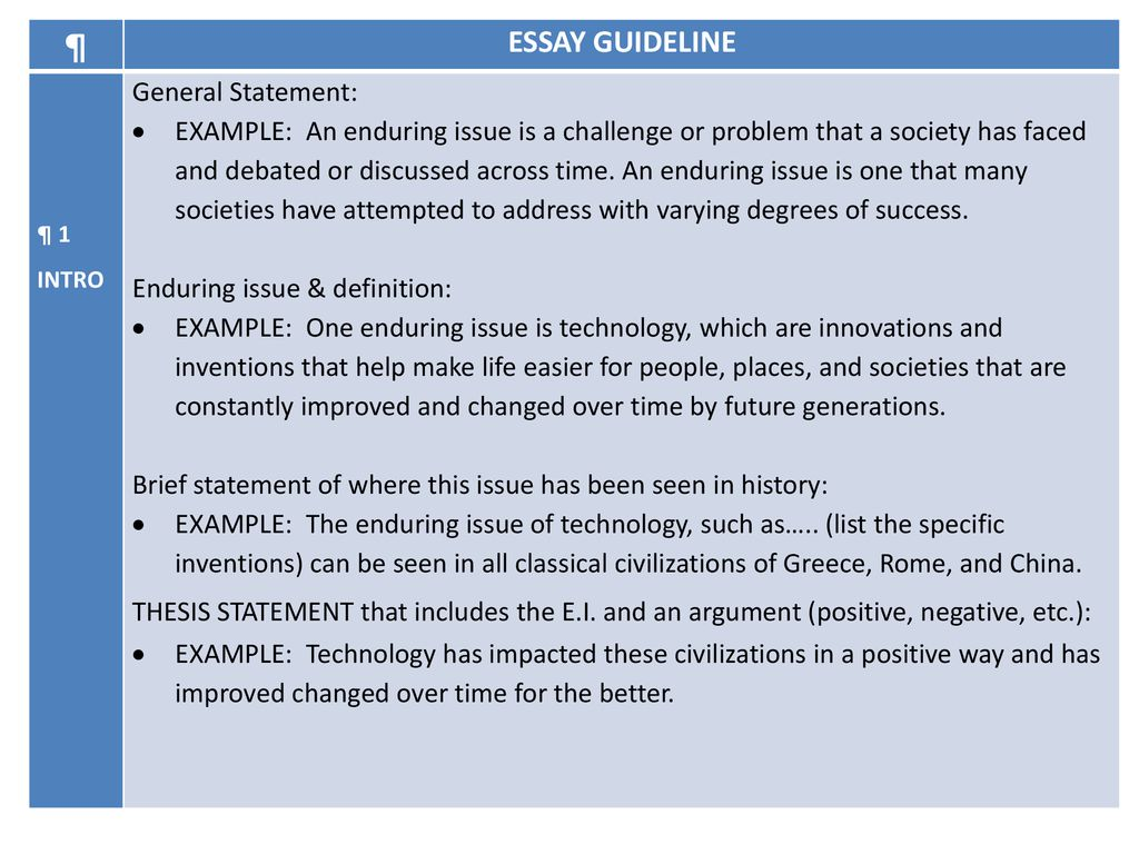 ESSAY GUIDELINE General Statement