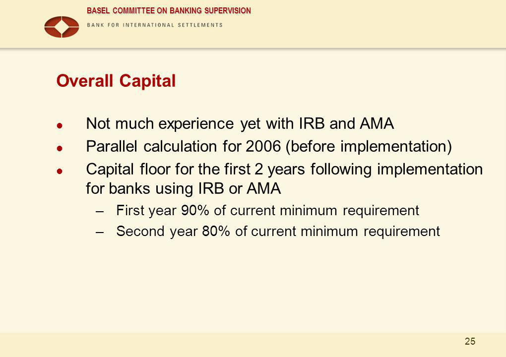 Overall Capital Not much experience yet with IRB and AMA