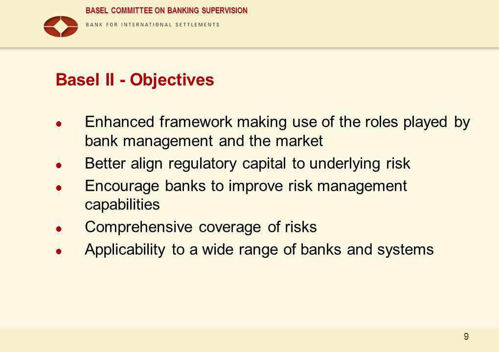 Basel II - Objectives Enhanced framework making use of the roles played by bank management and the market.