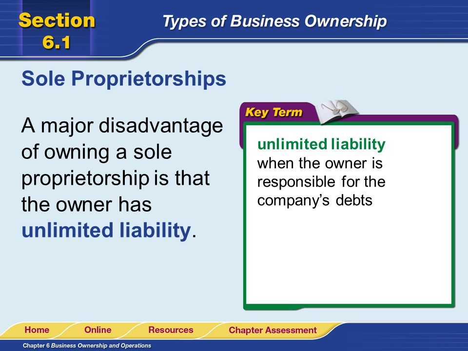 Sole Proprietorships A major disadvantage of owning a sole proprietorship is that the owner has unlimited liability.