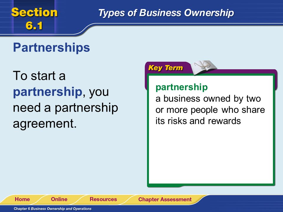 To start a partnership, you need a partnership agreement.