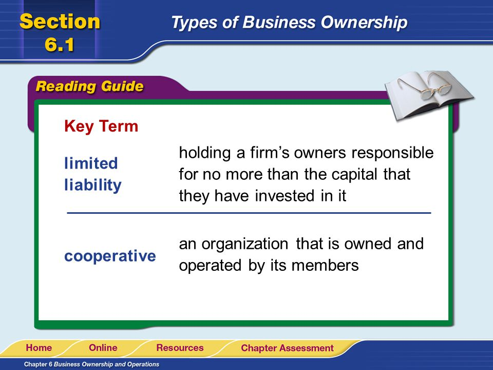 Key Term holding a firm's owners responsible for no more than the capital that they have invested in it.