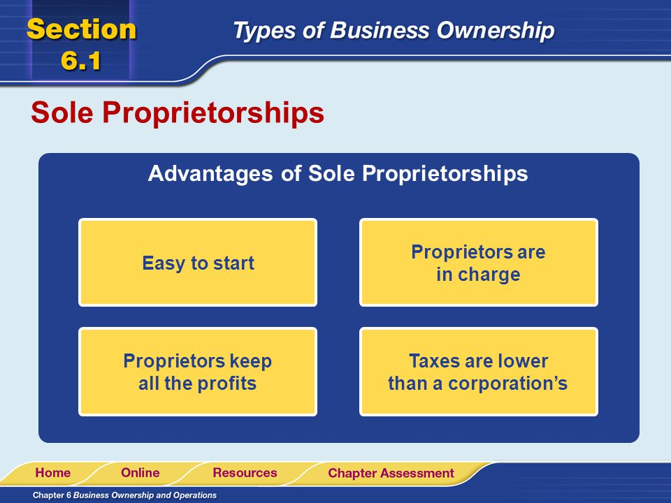 Sole Proprietorships Advantages of Sole Proprietorships Easy to start