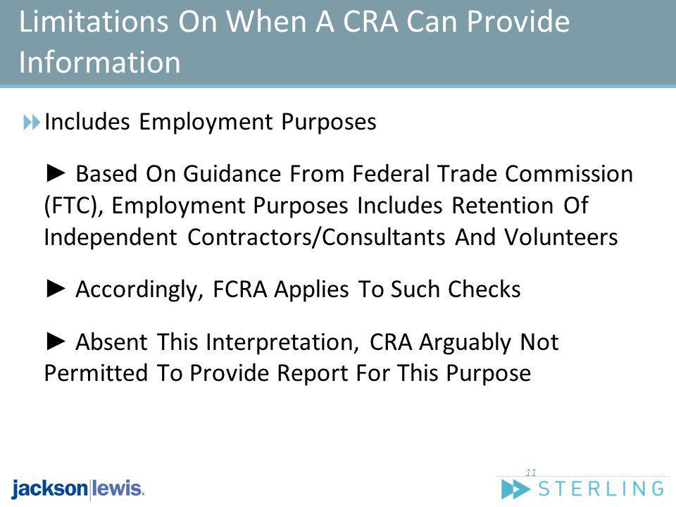 Limitations On When A CRA Can Provide Information