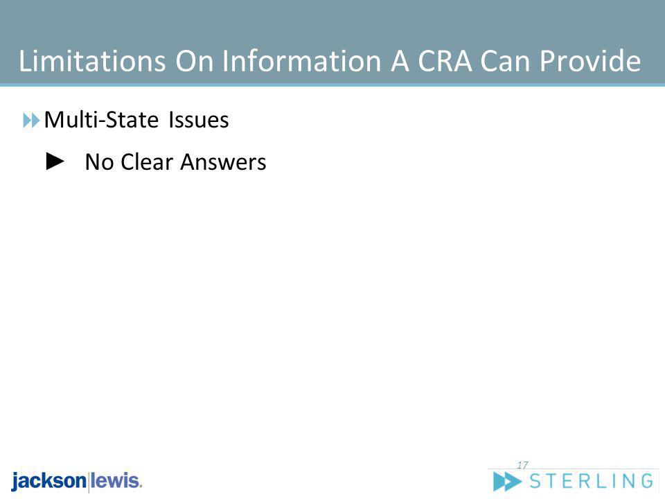 Limitations On Information A CRA Can Provide