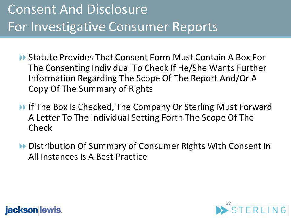 Consent And Disclosure For Investigative Consumer Reports