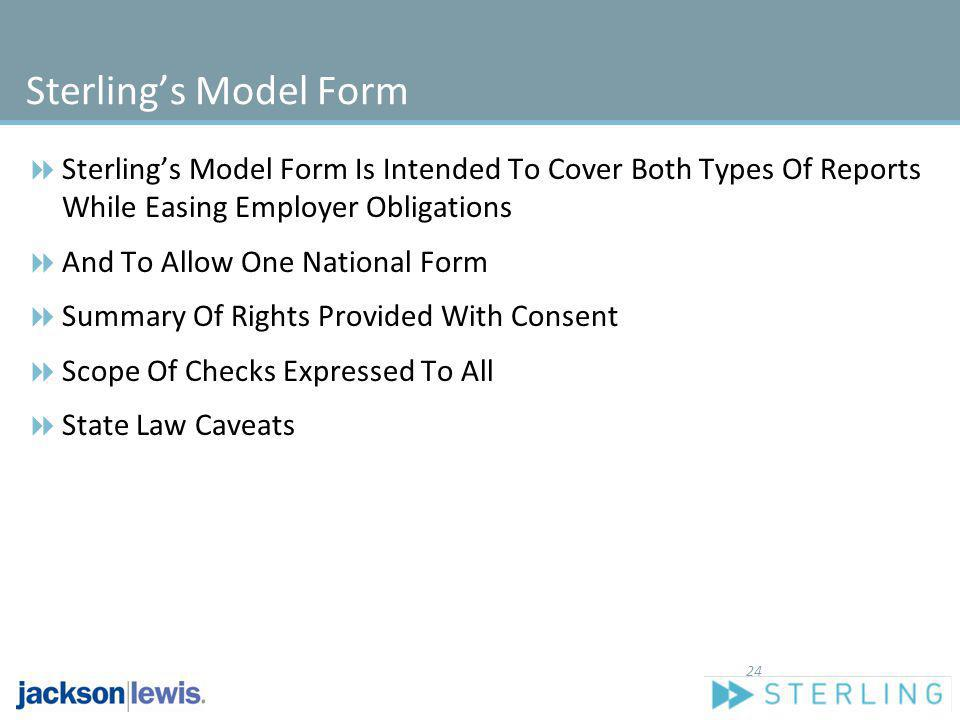 Sterling's Model Form Sterling's Model Form Is Intended To Cover Both Types Of Reports While Easing Employer Obligations.