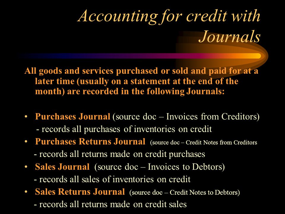 Accounting for credit with Journals