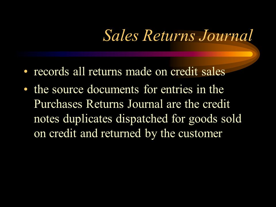 Sales Returns Journal records all returns made on credit sales