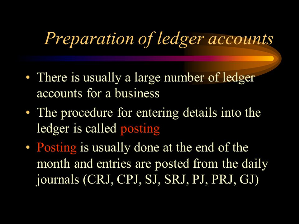Preparation of ledger accounts