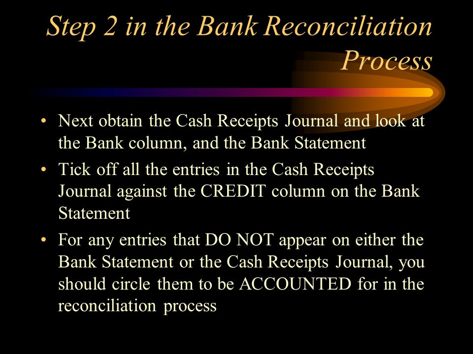 Step 2 in the Bank Reconciliation Process