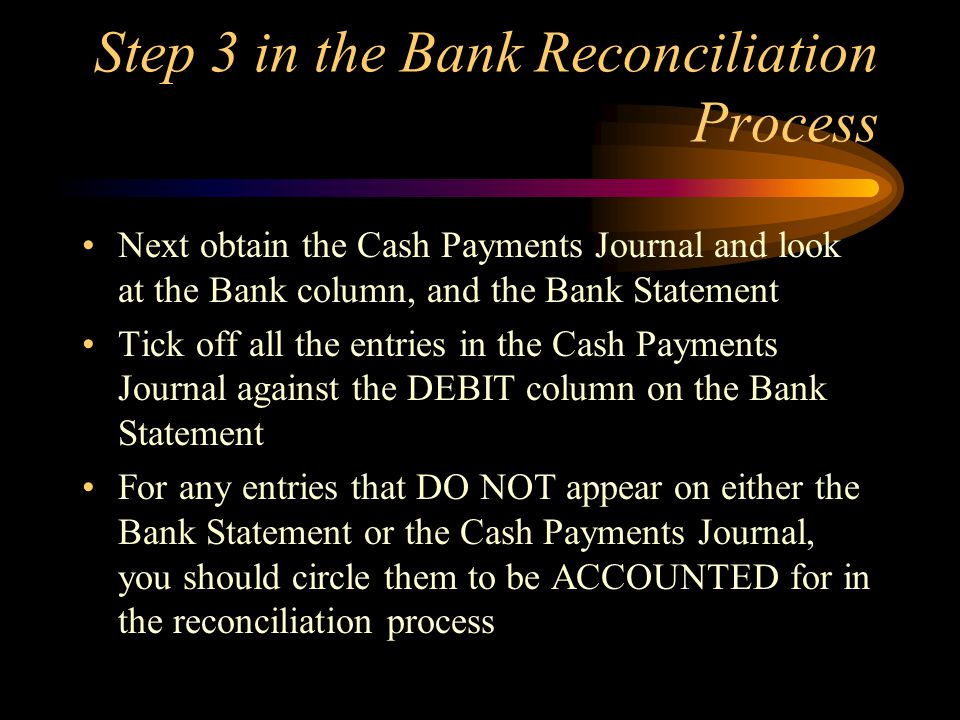 Step 3 in the Bank Reconciliation Process