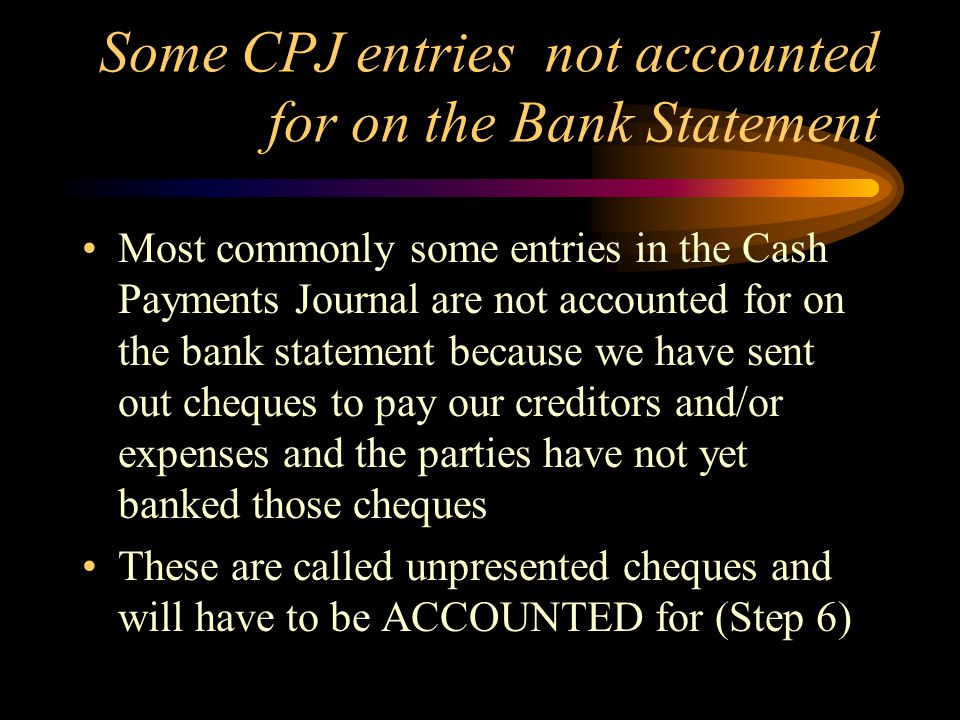 Some CPJ entries not accounted for on the Bank Statement