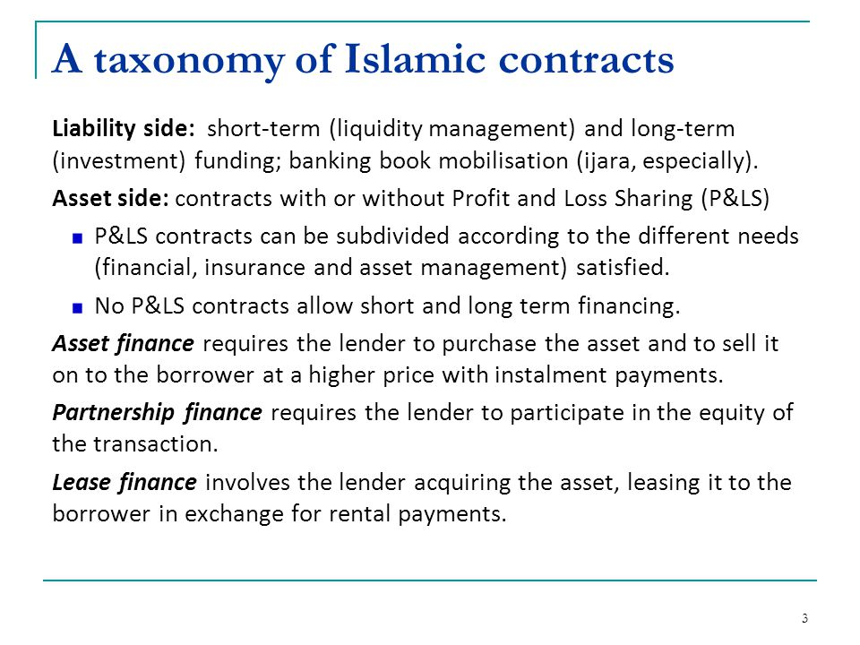 A taxonomy of Islamic contracts