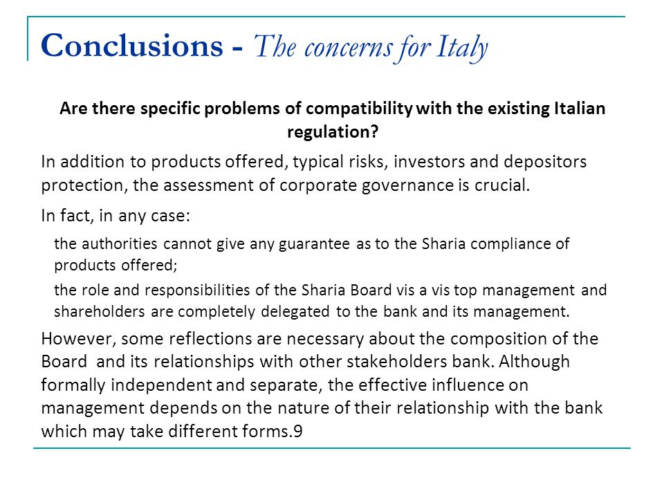 Conclusions - The concerns for Italy
