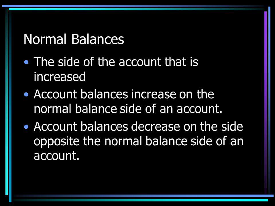 Normal Balances The side of the account that is increased