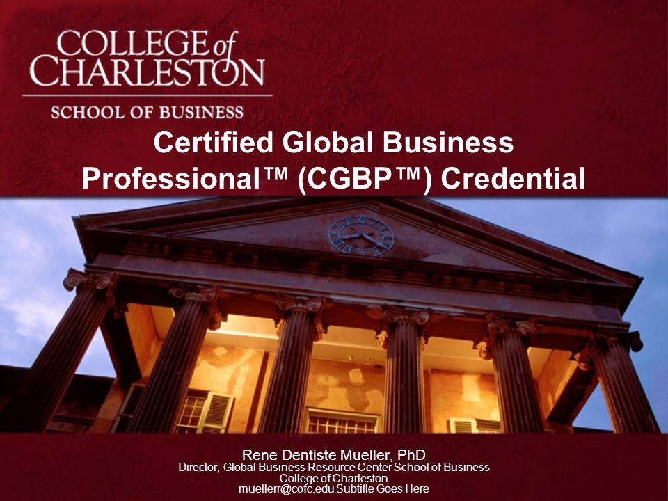 Certified Global Business Professional™ (CGBP™) Credential
