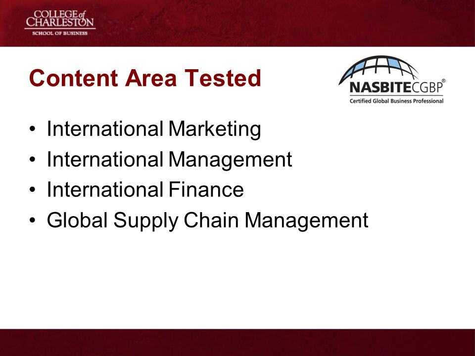 Content Area Tested International Marketing International Management
