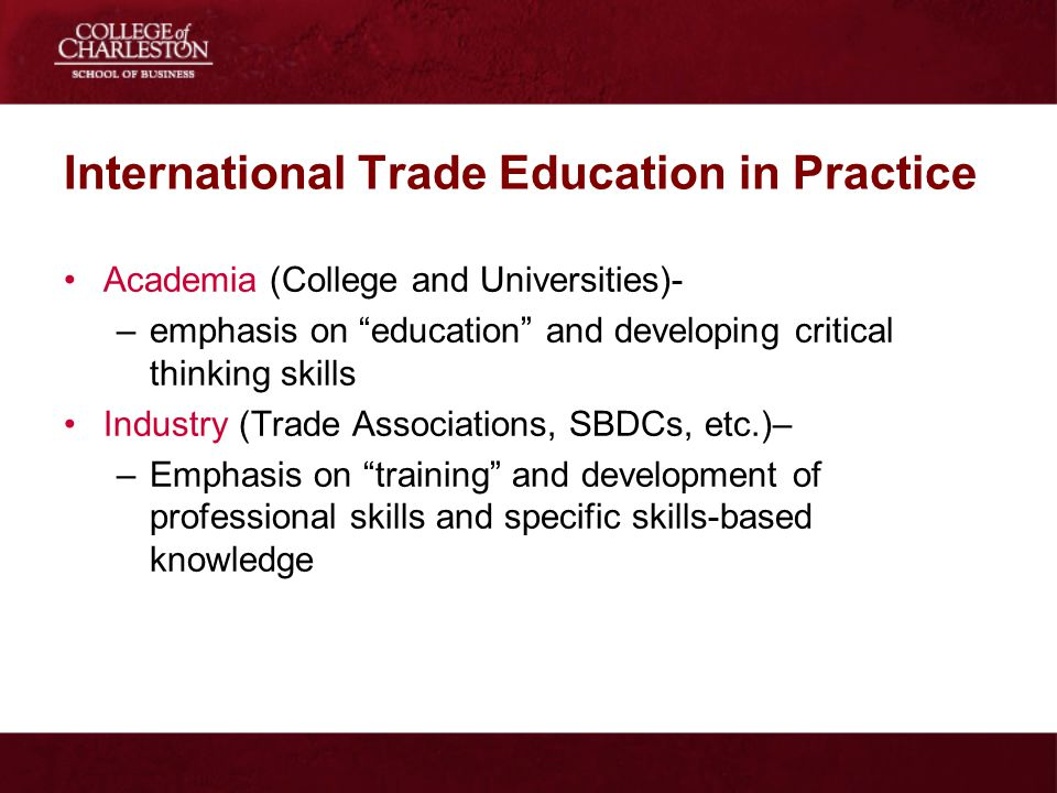 International Trade Education in Practice