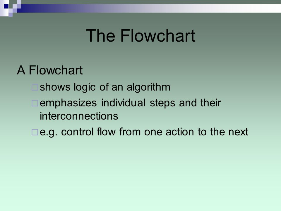 The Flowchart A Flowchart shows logic of an algorithm