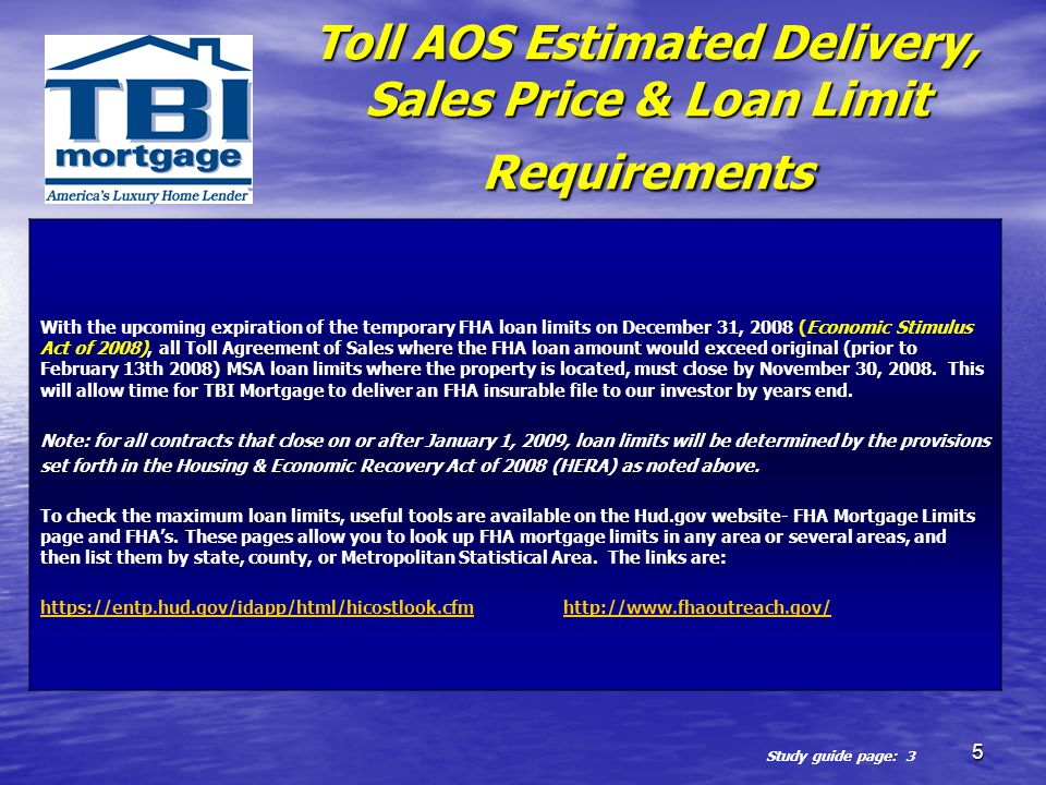 Toll AOS Estimated Delivery, Sales Price & Loan Limit Requirements