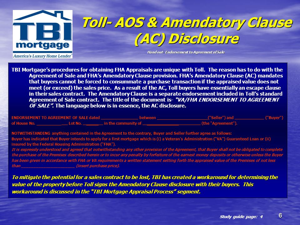 Toll- AOS & Amendatory Clause (AC) Disclosure Hand out- Endorsement to Agreement of Sale